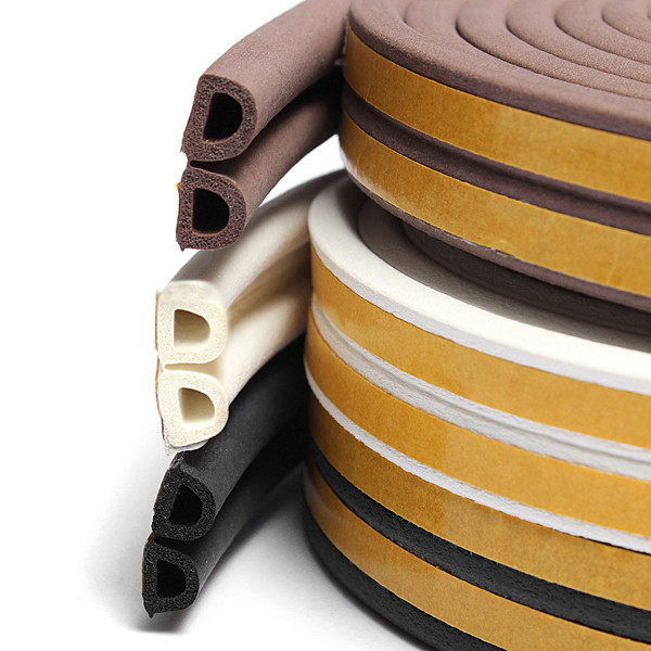 FREE SHIPPING Doors Windows Foam Rubber Seal Strip D Type 5m (15ft) Self Adhesive for Soundproofing Doors