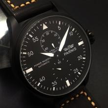 Venta caliente 46mm Parnis Power Reserve Negro Dial Blanco Marca Automático de Los Hombres Reloj de Pulsera