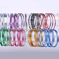 50pcs/lot Chromatic Aluminum Loop Bracelet Indian Dance Thin Colorful Bangle Cuff Carved Charm Bracelets Women Jewelry 6.5CM