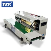 YTK FR900 упаковочная машина для пластиковой пленки+ горизонтальная запечатка+ печать даты+ уплотнительный ремень
