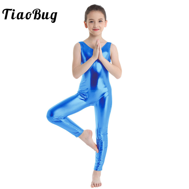 3-11Y Baby Kid Girl Ballet Dance Shiny Tight Bodysuit Unitard Gymnastics Leotard