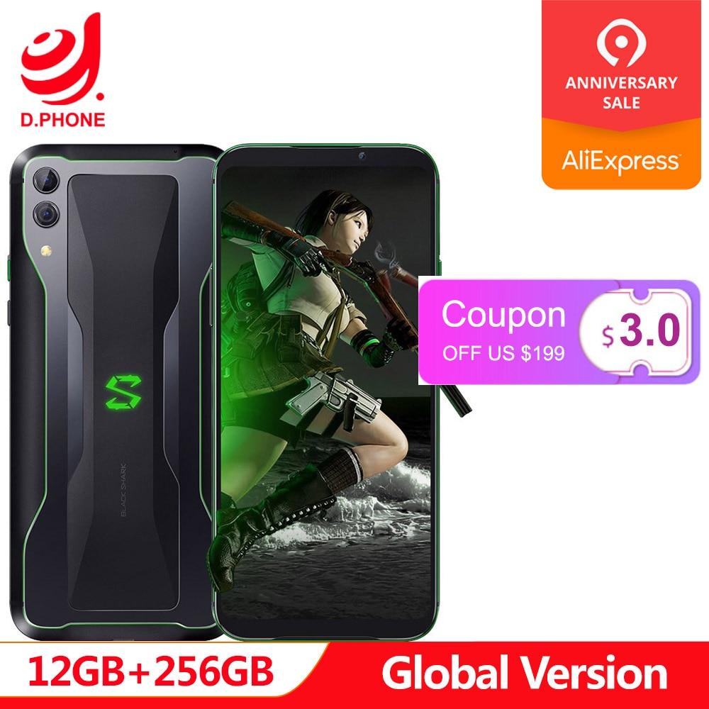 Versión Global Xiaomi tiburón negro 2 12 GB 256GB Teléfono de juegos Snapdragon 855 Octa Core 48 + 12 MP Cámara 4000 mAh juego Smartphone