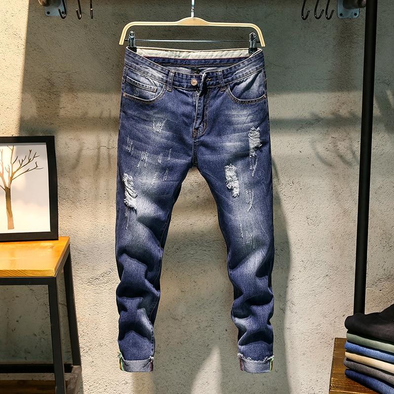 Men's Blue Skinny Jeans Men Cotton Pencil Pants Long Jeans New Fashion Holes Slim Cowboy Pants Casual Jeans Ankle-Length Pants(