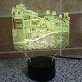 Histórico de la ciudad de Phoenix Chino creativo 3D USB luz led táctil interruptor 7 IY803515 ilusión visual de color cambiante luz de la noche