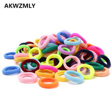 2017 100Pcs Candy Color Hair Bands Chirldren Girls Small Solid Cotton Ties Gum Accessories Kids Rubber Ropes