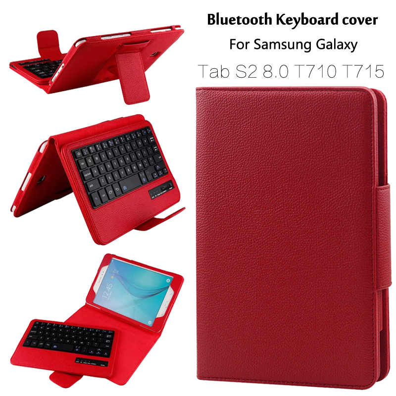 For Samsung GALAXY Tab S2 8.0 T710 T715 Removable Wireless Bluetooth Keyboard Portfolio Folio PU Leather Case Cover + Gift removable wireless bluetooth russian hebrew spanish keyboard stand pu leather case for samsung galaxy tab a 9 7 t555 t551 t550