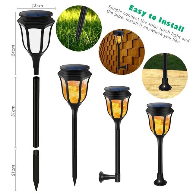 Creative Simulate LED Flame Lamp Solar Powered Light Waterproof ...