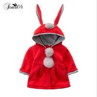 2017 Autumn Winter Baby Girls Infants Kids Ball Cute Rabbit Hooded Princess Jacket Coats Outwears Christmas