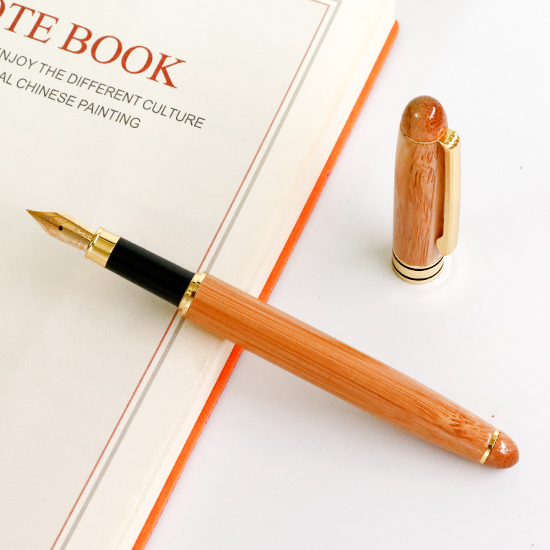 цена на 1pc Wooden Fountain Pen Gold Clip Iraurita Nib Broad 0.7mm Retro Gift Pens School Office Supplies Customized Engrave Accept