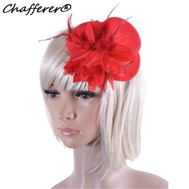 Chafferer Las Flower Small Hat Mesh Feather Hair Accessories Wedding Party Little Hats Bride Headdress Fedoras