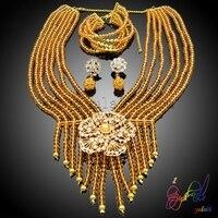 Afrikaanse kristal kralen sieraden meest mode-sieraden ketting voor bruiloft Guangzhou groothandel prijs sieraden set