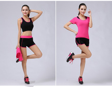 women sports Gym clothing suit 1+2piece set Sports Bra+Gym Sleeved Tank top Shirt+Sports Shorts for fitness yoga