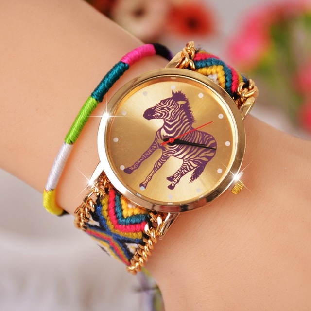 Cat Owl Butterfly Watches Women Ethnic Cotton Woven Braided Bracelet Watch Quart