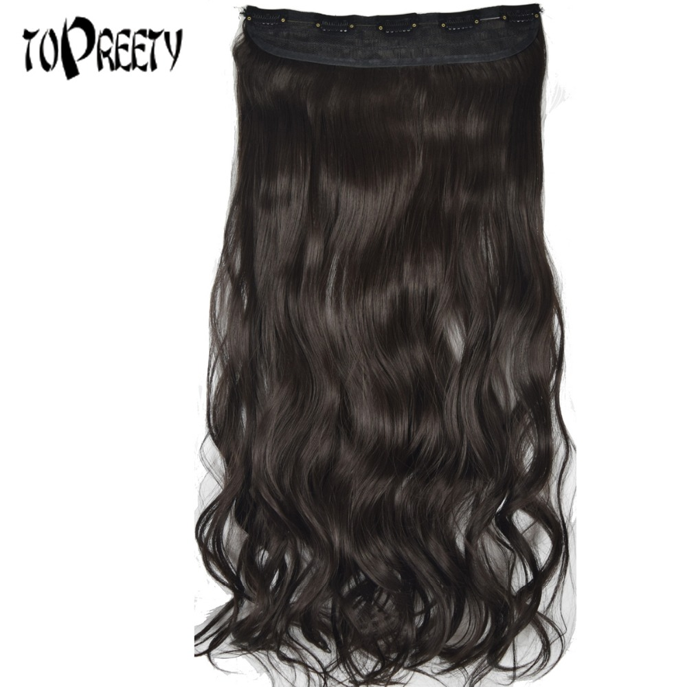 TOPREETY Heat Resistant Synthetic 22 55cm 130g Body Wave 5 Clips on Clip in hair Extensions ...