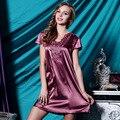 Nova Chegada de Cetim Sleepwear Moda Início Vestuário Feminino Com Decote Em V Camisolas De Seda, Venda Quente Rendas Mangas Curtas Mulheres Nightwear