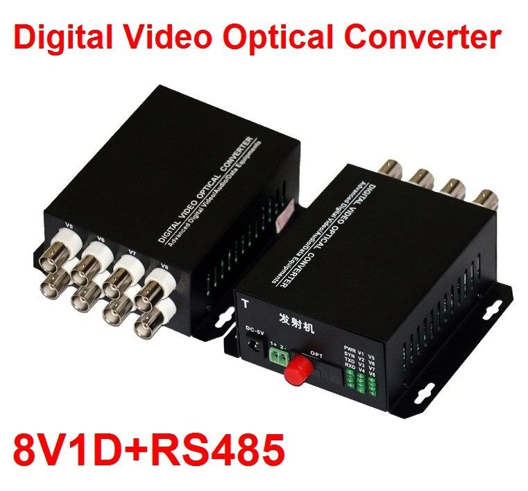 1 paire 2 pièces/lot 8 Canal Vidéo Convertisseur Optique 8V1D Fiber Optique Vidéo Optique Émetteur et Récepteur 8CH + RS485 données