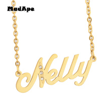 """MadApe """"Nelly"""" Name Pendant Necklace, Custom Any Personalized Letter Name Necklace Handmade Jewelry For Women Gift Dropshipping"""