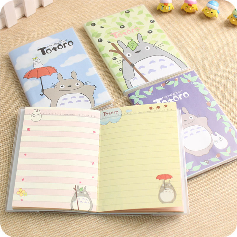 Cute Kawaii Animal Totoro PVC Covers Notebook Cartoon Diary Planner Notepad For Kids Korean Student Office School Stationery
