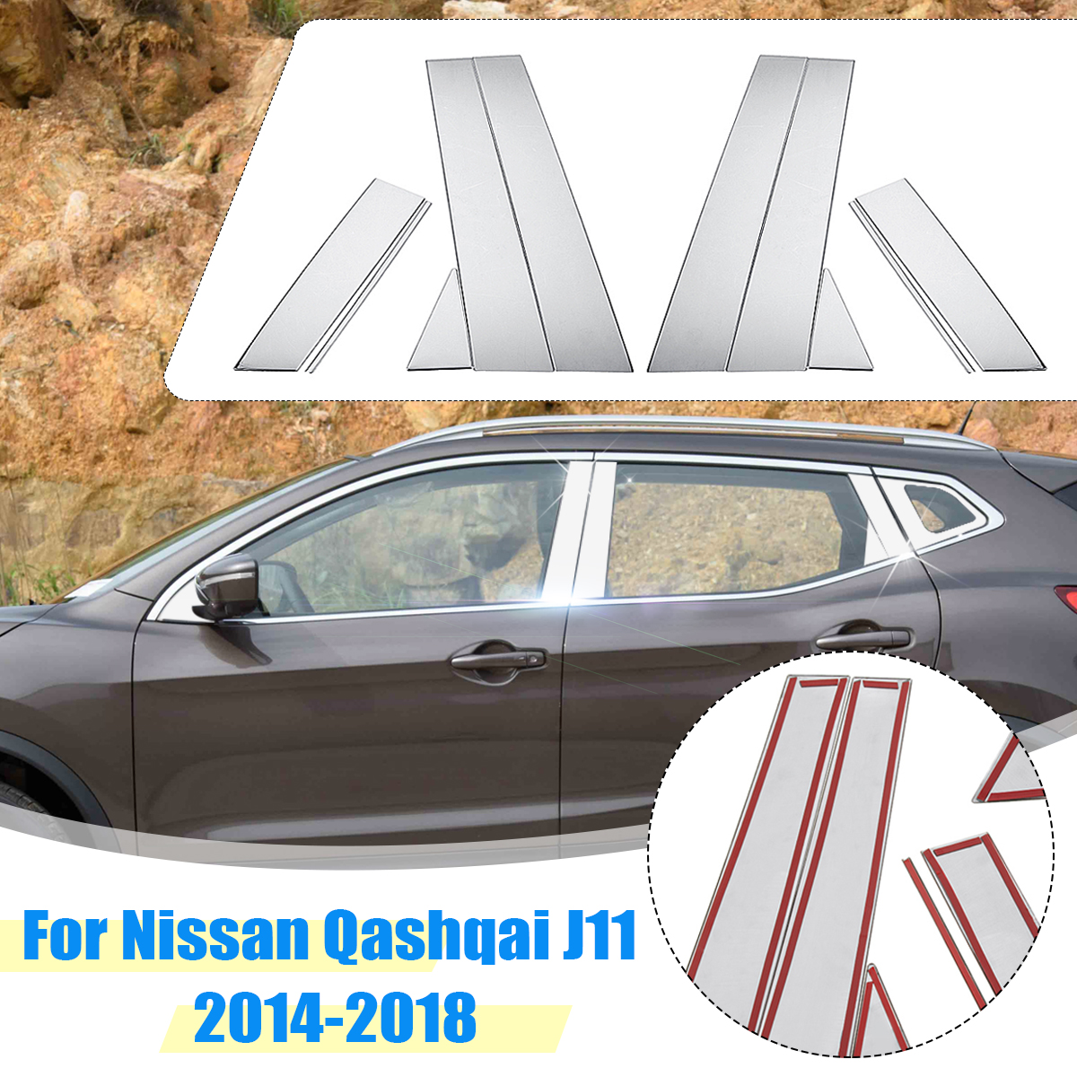Car Window Pillar Center Trim Stainless Steel Sticker Decoration <font><b>Accessories</b></font> for <font><b>Nissan</b></font> <font><b>Qashqai</b></font> J11 2014 2015 <font><b>2016</b></font> 2017 2018 image
