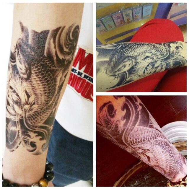 Tatuajes Guapos Para Hombres hot 3d realista carpa tatuajes negro brazo tatuaje temporal a prueba
