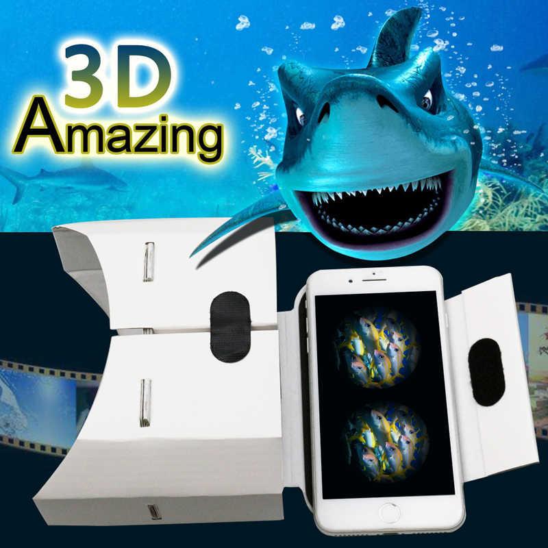 DIY Portabel Virtual Reality Kacamata Google Karton 3D Kacamata VR Kotak untuk Smartphone untuk Iphone X 7 8 VR