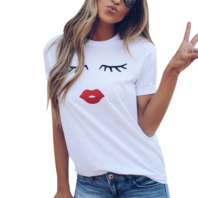 ac7bd879552 Hot 2018 Summer White Tops Eye Lashes Red Lips Printed T-Shirts Women O Neck