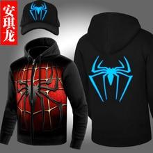 New Winter Jackets and Coats SpiderMan hoodie Anime Luminous spider-man Hooded Thick Zipper Men cardigan Sweatshirts