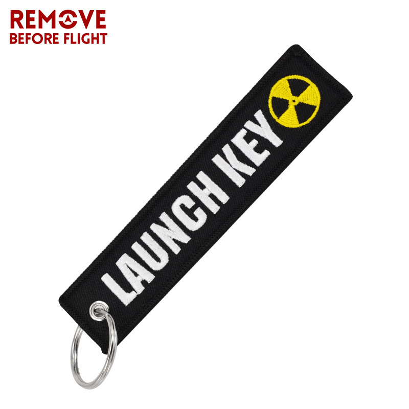 100PCS Nuclear Launch Key Bijoux Keyring Fashion jewelry Embroidery Pendant Fob Keychain for Car Purse Bag Motorcycle Key Holder