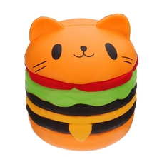 Cute Big Cat Burger Slow Rising Squeeze Decompression Toys Stress Reliever Toys Smooshy Mushy Toys