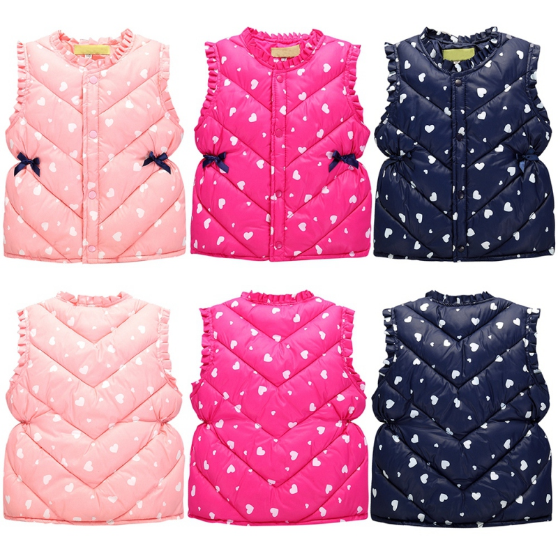 Sweet Floral Children's Girls Jackets Cotton Warm Kids Vest For Girl Waistcoat Children Outerwear For Kids Clothing 3-Style floral slash neck vest page 3