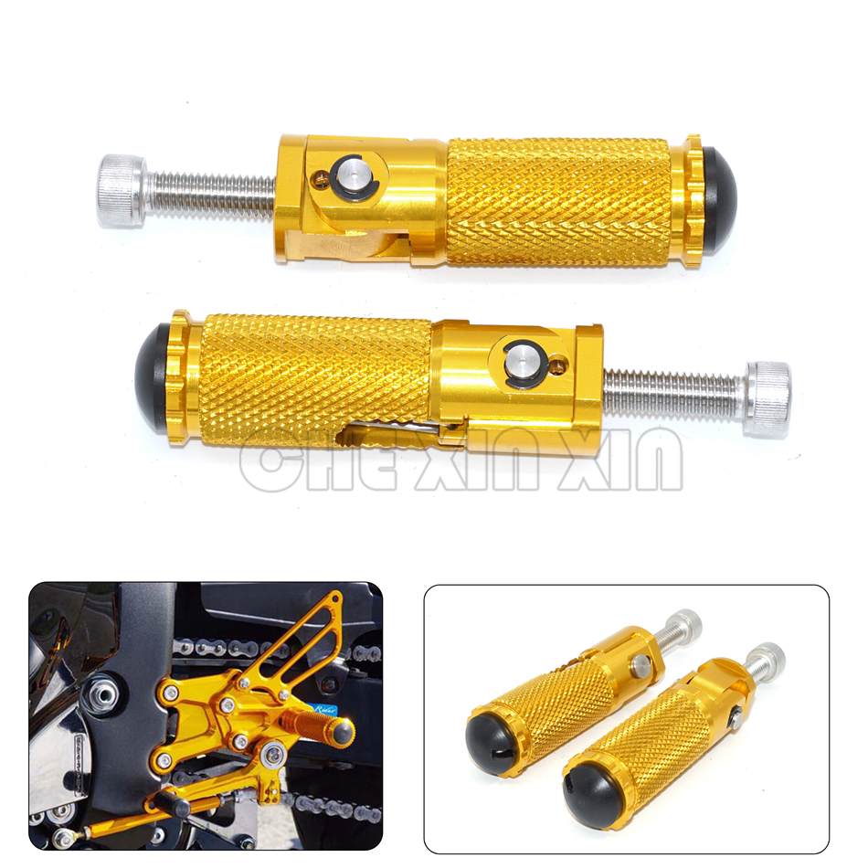 Gold CNC Universal Motorcycle Bike Folding Foot pegs Rearset Rest Racing For KTM