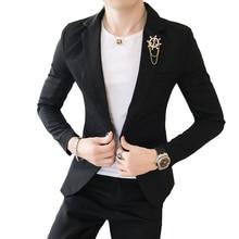 Мужской костюм из двух частей пэт (пальто + брюки) мужские модные металлические декоративные костюмы