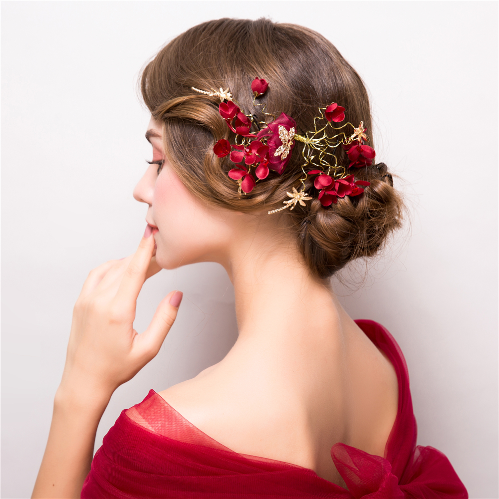 fashion red flower headpiece hair