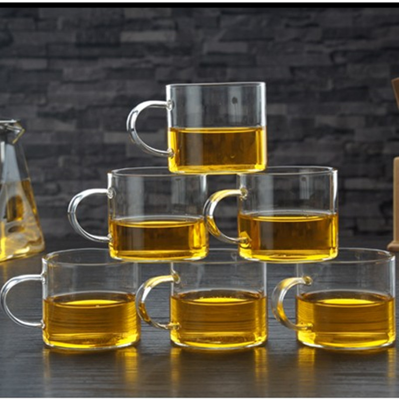 6 Pieces Set Small Mouth Transparent Glass Cups Coffee Taste Mug Kung Fu Flower Tea Cups Afternoon Tea Drinkware Free shipping