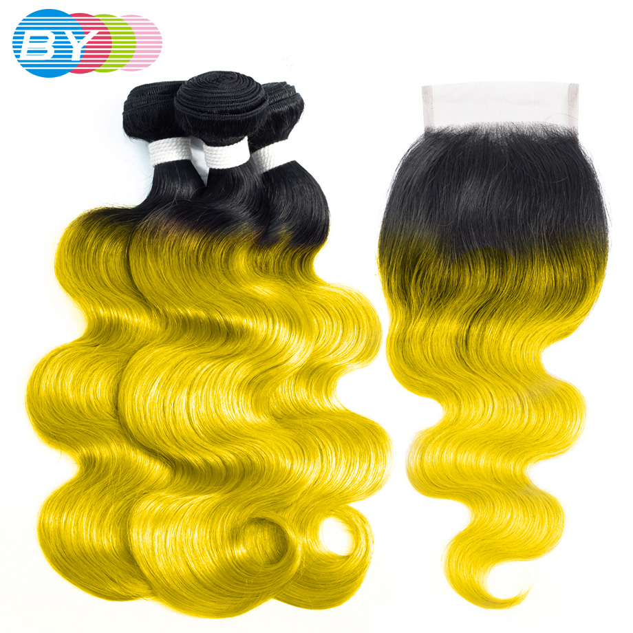 BY Body Wave Bundles With Closure Pre colored Hair Extension OT Yellow Color Remy Brazilian Human