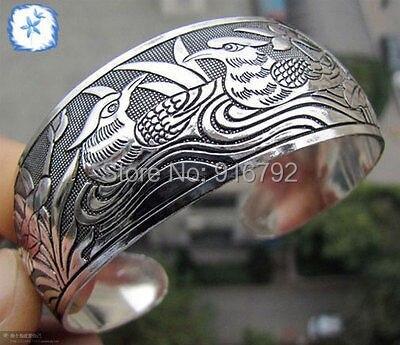 free P&P HU632e >>>NO-S3018 charming mandarin duck Tibet Silver cuff Bracelet