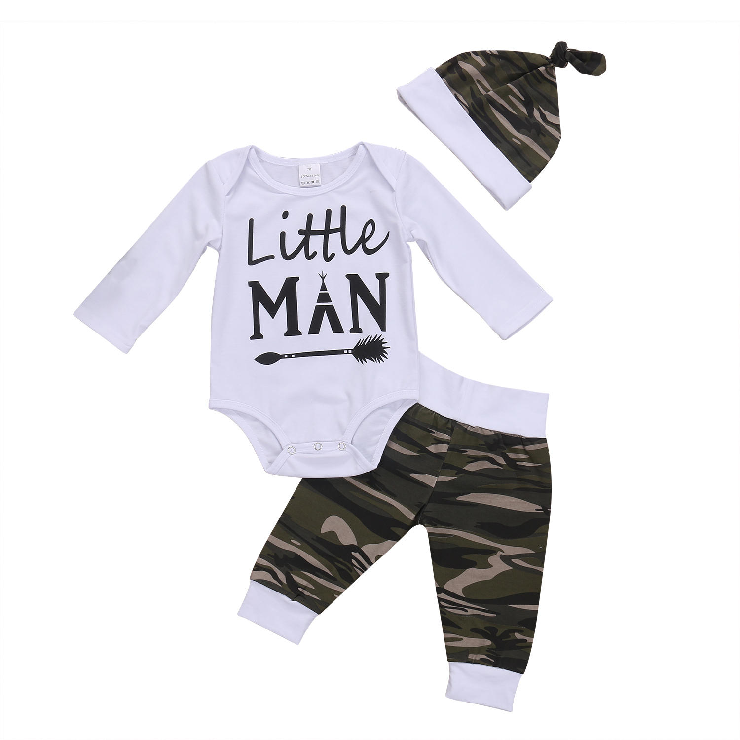 Baby Boy Clothes Set 2017 Autumn Spring New Toddler Baby Boys Camo Tops Long Sleeve Bodysuit Pants Hat 3Pcs Outfits Set Clothes 0 24m newborn infant baby boy girl clothes set romper bodysuit tops rainbow long pants hat 3pcs toddler winter fall outfits