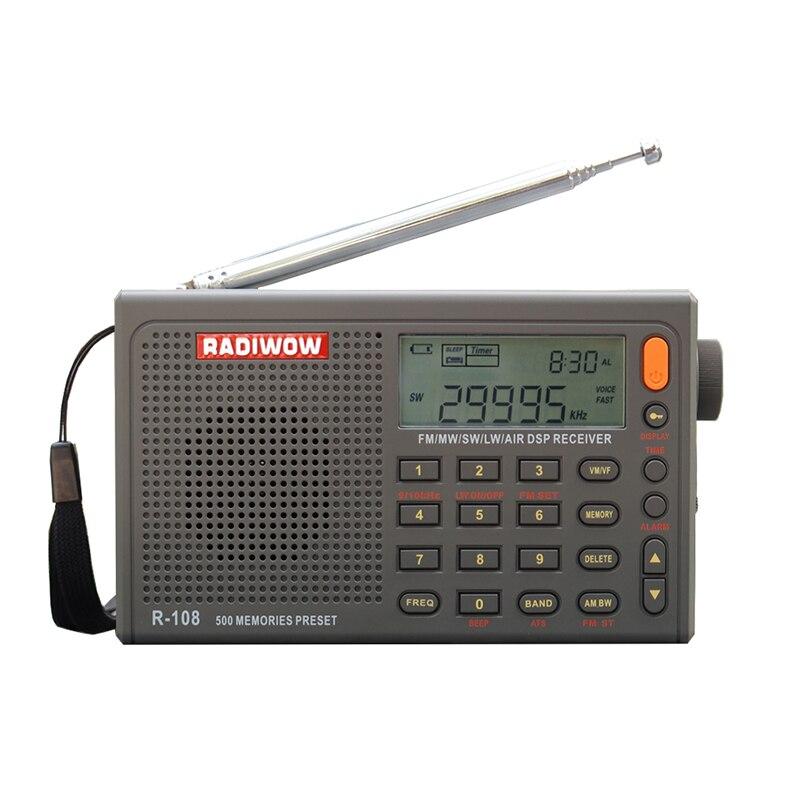 RADIWOW R-108 Rádio Digital Portátil Rádio FM Stereo/LW/SW/MW/AR/DSP Receptor com LCD/Alta qualidade de som para indoor & outdoor