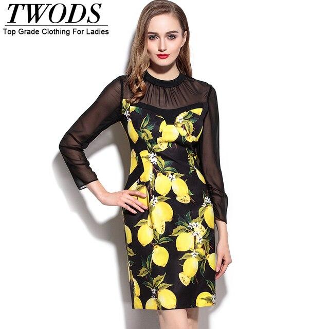 8f896055560 Twods Yellow Lemon Pattern Women Short Work Dress Mesh Panel Long Sleeve  Bodycon Slim Cut 2016 Summer Dresses Plus Size XXL