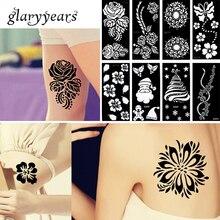 Яркий 1 шт, трафарет для татуировки хны, водонепроницаемый цветочный кружевной дизайн, сексуальный женский боди-арт, трафарет для татуировки, рождественские подарки