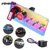 Vehemo DC 12V 5 in 1 Durable Universal Ignition Switch Panel Racing Car Carbon Push Button Toggle Controls Power Off Switch