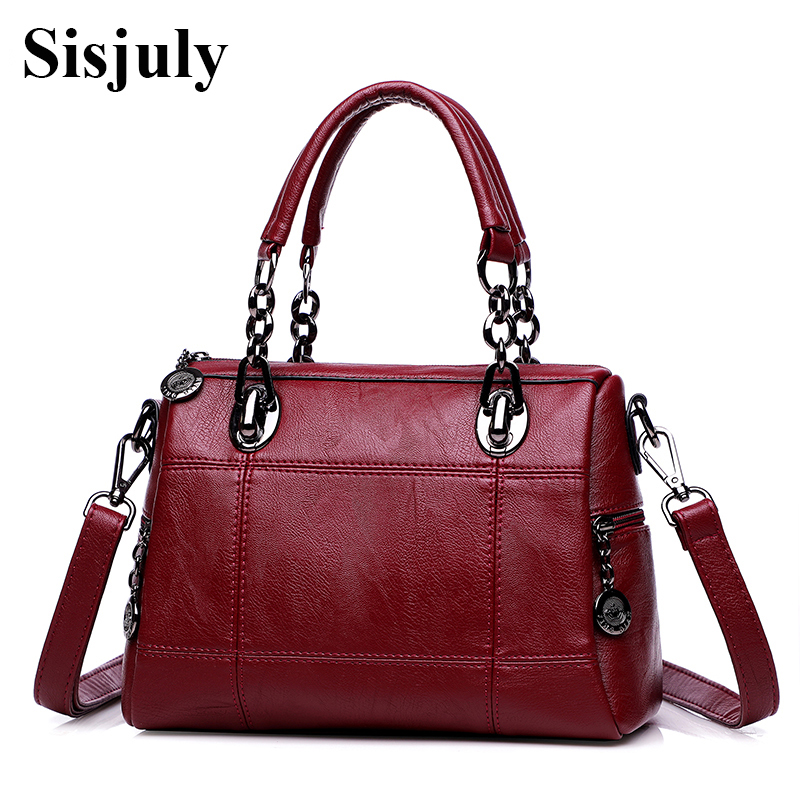 Sisjuly Women Leather Handbags Chain Female Shoulder Bag Fashion Crossbody Bags for Lady Sac A Main Femme Girls Hand Woman Tote sisjuly фуксин xl