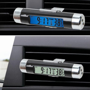 Car Air Outlet Clip Type LCD Electronic Watch Temperature Combination Car Interior Electronic Clock Watch Car Accessories