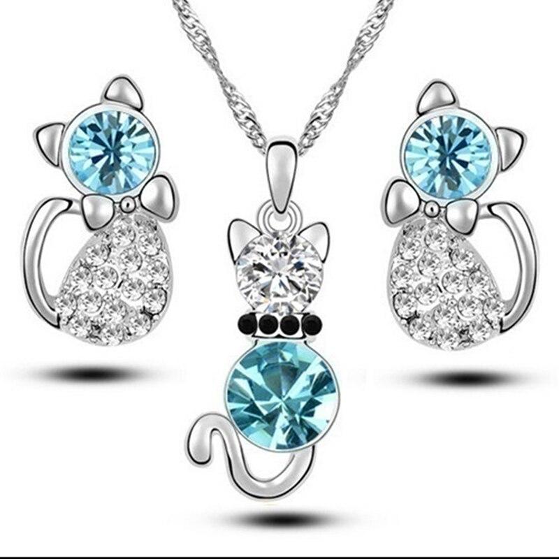 Suit Necklace Earrings Jewelry-Set Zircon Pendant Crystal Blue 3pcs Kitt Cat