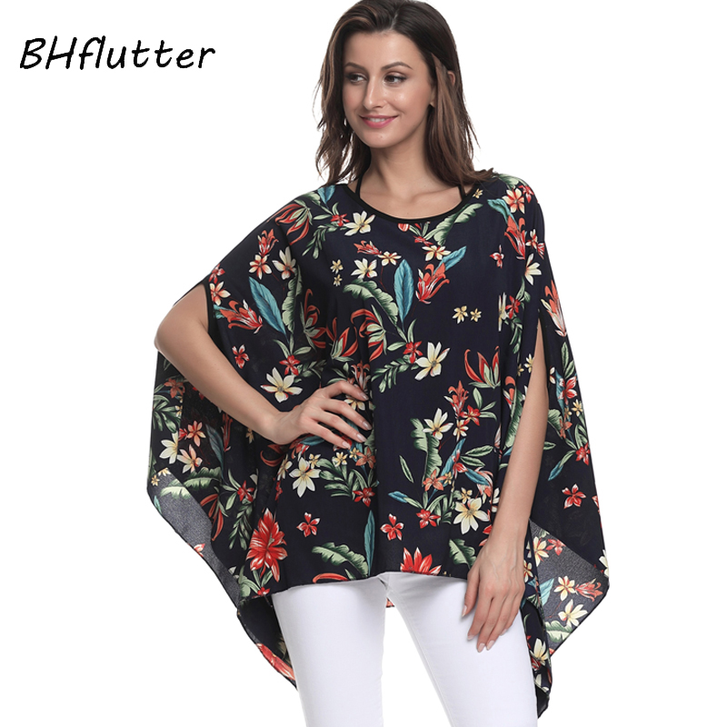 BHflutter 4XL 5XL 6XL Plus Size Women Clothing 2018 New Casual Chiffon   Blouse     Shirt   Batwing Sleeve O neck Summer Top Tee Blusas