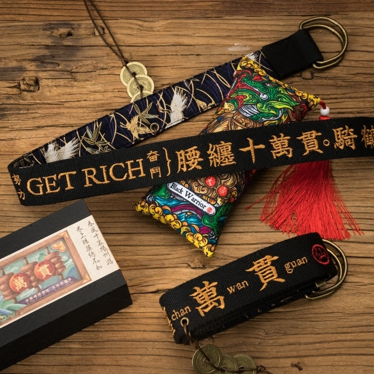 Y Demo Harajuku Canvas Belt Chinese Letter Embroidery Double Ring Button  Belts