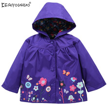 2019 Autumn Baby Girl Jacket Hooded Outerwear Printing Water