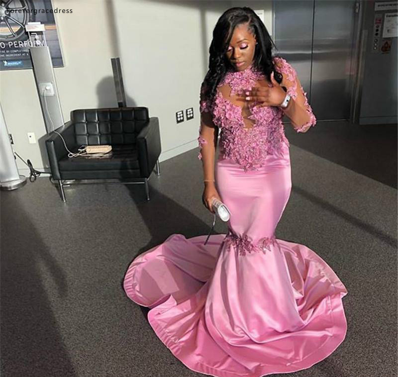 Pink Prom Dresses South African Black Girls Long Sleeves Formal Pageant Holidays Wear Graduation Evening Party Gowns Custom Made