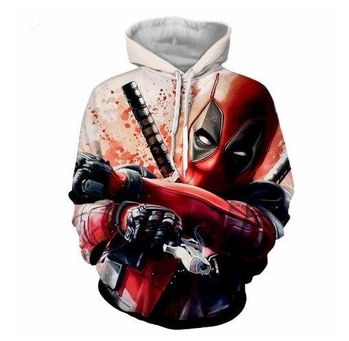 Movie Deadpool 2 Sweatshirts Wade Winston Wilson Cosplay Costume Autumn men and women anime 3D Printing Jacket Hooded sweater