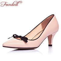 FACNDINLL Latest Autumn Shoes Women Pumps Sexy Pointed Toe Basic Party Thin High Heels Bow Ladies